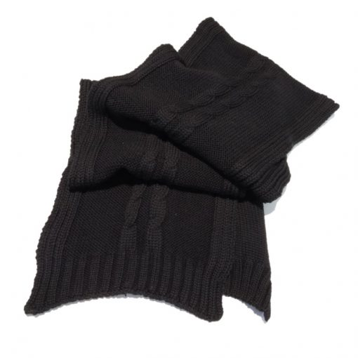 BGS08 Dual Cable Merino Wool Knit Scarf in Black Colour