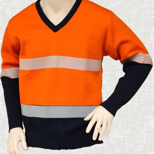 HiVis V Neck Pullover with Tape (Orange) | V26HVT