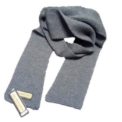 002 Ballarat Gold All Needle Knit Pure Wool Scarf in Wallaby Colour