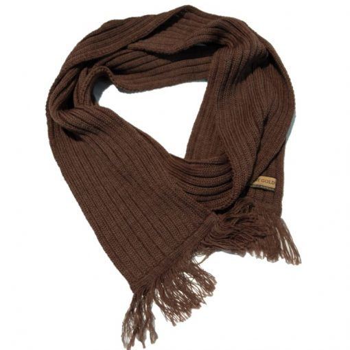 BGS07F Ballarat Gold Chunky Rib Knit pure wool scarf in Potters Clay Colour
