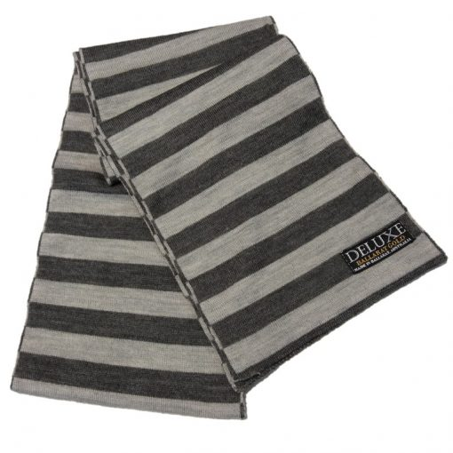 Ballarat Gold Deluxe Stripe Pure Wool Scarf in Wallaby and Smoke