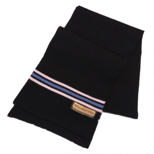 Ballarat Gold pure wool scarf with triple stripe detail at ends