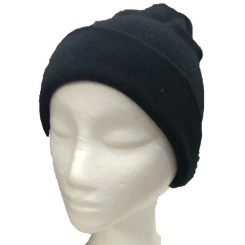 BGB36 Ballarat Gold Pure Wool Fine Knit Beanie in Black Colour
