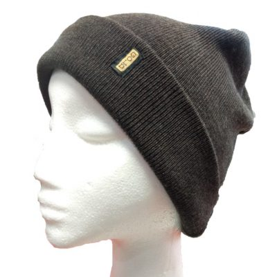 BGB36 Ballarat Gold Fine Knit Pure Wool Beanie in Chocolate Colour