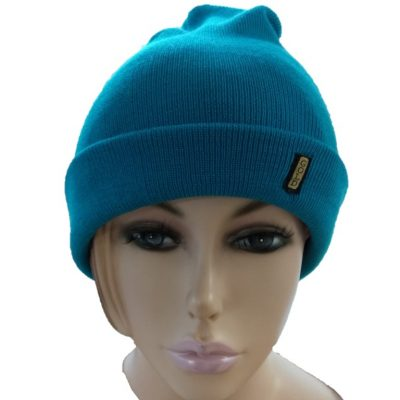 BGB36 Ballarat Gold Pure Wool Fine Knit Beanie in Cyan Colour