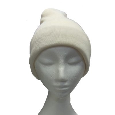 BGB36 Ballarat Gold Pure Wool Fine Knit Beanie in White Magnolia Colour