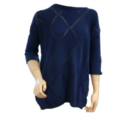 Ballarat Gold Jewel Pure Merino Wool jumper with three quarter raglan sleeves in Atlantic Colour