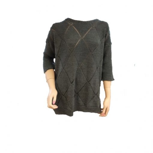 Ballarat Gold Jewel Pure Merino Wool jumper with three quarter raglan sleeves in Wallaby Colour