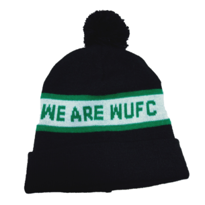 we are wufc banner beanie with black pom pom