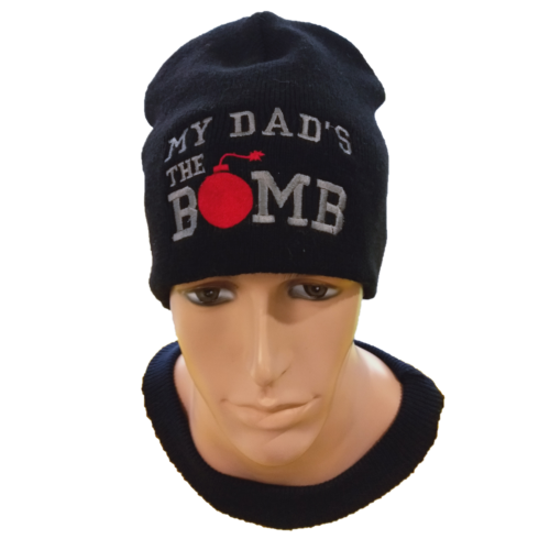 black Fathers Day Skull Cap Beanie with My Dad's the Bomb embroidered on front centre