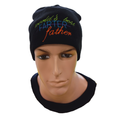 black Fathers Day Skull Cap Beanie with world's best farter embroidered on front centre