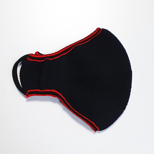 Premium Nylon knitted face mask in black/red flatlay on the half