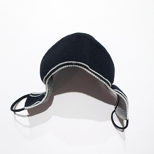Premium Nylon knitted face mask in black/white flatlay side view